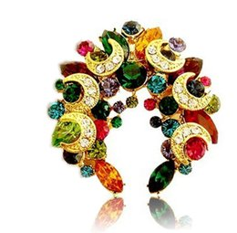 Gold Plated Muticolor Rhinestone Crystal Star and Moon Wrealth Brooch pin