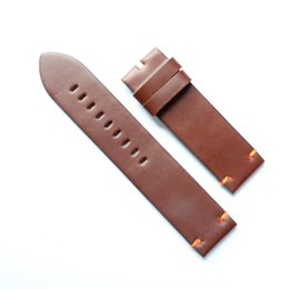 Cbcyber 24mm Genuine Leather bordure Watch Band Strap for Watch With steel Buckles, men's watchbands for luxury watch