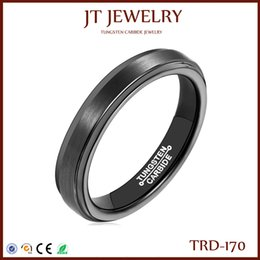 4mm Black Tungsten Carbide Mens Women Wedding Band Comfort Fit Polished Edges Centre Smooth Brushed Polish Ring On Sale 7#-13#