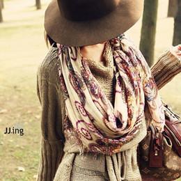 Bohème rétro foulards gros en Ligne-Grossiste-coton voile motif géométrique rétro vintage femmes écharpes de style bohème chaud chaud long écharpe enveloppe châle hiver Nouveau