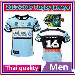 Wholesale Thailand Quality Australian Football League team s new Cronulla Sharks rugby home jerseys size S M L XL XXL shirt