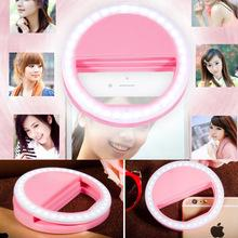 Wholesale Universal Clip Case Selfie Led Luminous Ring Rechargeable Li Battery Phone Mount Flash Light Up for Phone Ipad Tablet Color boxes packing
