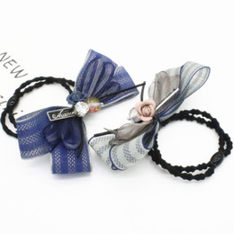2017 New Women Lace Fabric Bowknot Hair Accessories Blue Grey Color Elastic Hair Rubber Bands Rhinestone Hair Jewelry