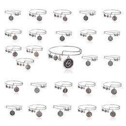 Fashion Handmade Initial Expandable Bracelets Bracelet Bracelet Lettre Pendentif Charm Bangle Unisexe 2.5
