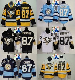 Pittsburgh Penguins Stitched 87 Sidney Crosby Jersey Black White Light blue Black yellow C Patch Hockey Jerseys Ice Youth Jersey Mix Order