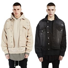 Fashion Oversized Denim Jackets Black Apricot Distressed Ripped Jean Coat Kanye West Hip Hop Streetwear Men Winter Biker Jacket OSG1006