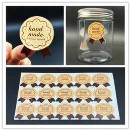 Wholesale 1200pcs Handmade Sticker mm quot x1 quot Medal Shape Label Sticker DIY Hand Made For Gift Cake Baking Sealing Sticker