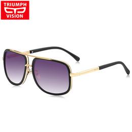 2017 gafas de diseño fresco Venta al por mayor-TRIUMPH VISION cuadrado pilotos gafas de sol hombres conducción 2016 Hombre marca de lujo gafas de sol para hombres Metal Diseñador Cool cortos Oculos presupuesto gafas de diseño fresco