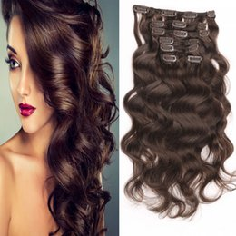 Top Quality Brazilian Virgin Human Hair Extensions 7pcs set Curly Clip In On Human Hair Extensions Optional Colors Wholesale Free Shipping