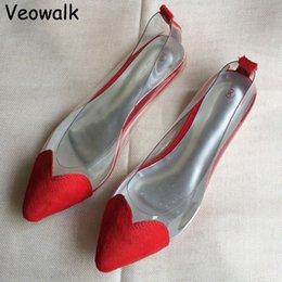 Wholesale Veowalk Mode Femmes Sweatheart Pointues Chaussures Toe Transparent Haute Mesdames Slip Sur Casual Cute Flats Leopard Zapatos Mujer