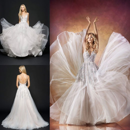 Wholesale Jlm Couture Beads Wedding Dresses Spaghetti V Neck Vintage Bridal Gowns Hollow Back Tulle A Line Wedding Dress