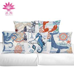 muchun Brand Ocean Series Christmas Cotton&Linen Thicken Pillow Cover Square Halloween Party 45*45cm Home Decorative Pillow Case