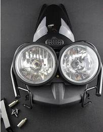 Wholesale Front Bug Eyed Dual Head Light Lamp Headlight Headlamp Upper Cover Guard Set Black For YAMAHA Zuma BWS YW125