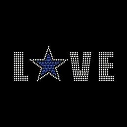 Fashion Love Star Rhinestone Transfer Iron On Hotfix Motif Designs For T Shirts