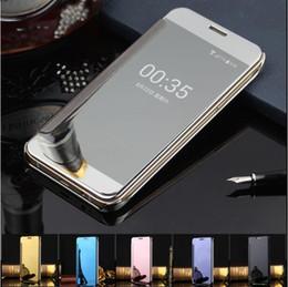 Promotion plaque d'écran Étui pivotant à miroir élégant plaqué de luxe pour Samsung Galaxy S6 S7 Edge Plus Note 5 Clear Screen View Housse complète pour Apple Iphone 7 6S plus