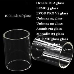 Ornate RTA LEMO 3 EVOD PRO V2.0 Unimax 25 22 Ammit rta Moradin 25 ULTIMO Vaptio p1 Smoant mobula Replacement Pyrex Glass Tube