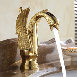 Wholesale and retail free shipping Copper basin faucet Kitchen & bathroom faucet European-style Golden Swan Luxury design
