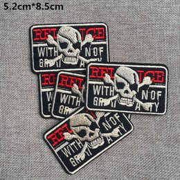 2016 Free Shipping~Horror skeleton fashion Iron On Embroidered Patch Appliques DIY bag clothing patches Applique Badges