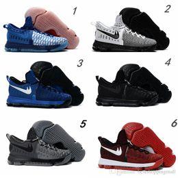 Kd chaussures de vente mens à vendre-2016 Hot Sale KD 9 Chaussures de basket-ball pour homme KD9 Oreo Loup gris Kevin Durant 9s Sports pour hommes Sports Sneakers Warriors Taille de la maison US7-12