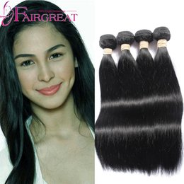 22 pouces extensions de cheveux longueur en Ligne-7A Unprocessed cheveux indiens droits humains de la Vierge 4pcs / Lot Straight Human Hair Extension Indian Weave cheveux paquets 6-34 pouces de longueur mixte