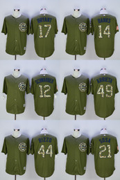 Wholesale 2016 Mens Chicago Cubs Kyle Schwarber Ernie Banks Kris Bryant Anthony Rizzo Green Salute to Service Jerseys