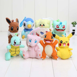 Wholesale Soft Mini Dolls - 8pcs lot 8-12cm Pikachu Bulbasaur Charmander Piplup Squirtle Eevee Mew Mini Plush Toys with hook keychain Soft Stuffed Animal Dolls