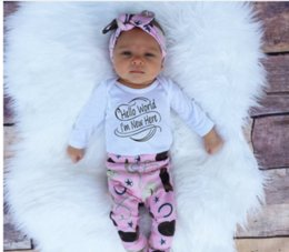 2017 New Spring Autumn Kids Clothing Sets INS Boys Clothing Girls Outfits Long Sleeve Rompers +Pant + Hats +Headband 3pcs Baby Suits Newborn