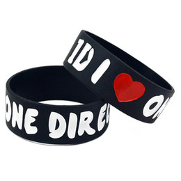 50PCS Lot I Love One Direction Silicone Wristband 1 Inch Wide Show Your Support For Them By Wearing This Bracelet