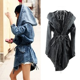 Canada Vente en gros- New Girl's Denim Surdimensionné Hoodie Veste à capuche Jean Wind Veste Mode Design Denim Femmes Coat DP658055 jean hooded for sale Offre