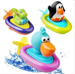 Canada Vente en gros - 3 Styles Baby Bath Toy Lovely Animal Play Water Pull String Penguin Boats jouet pour enfants Children Inspire Imagination Toys Gift pulling string promotion Offre