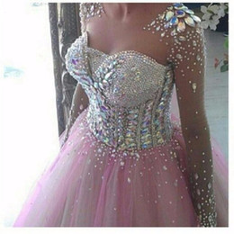 Pink Ball Gown Crystal Beading Prom Dresses With Long Sleeve Vestidos De Formatura Long Graduation Dress
