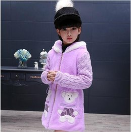 Children 's new winter 2016 girls Cubs embroidery sweater Korean cartoon thicker coat tide