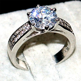 Luxury Jewelry Real 100% 925 Sterling silver Wedding Bands Rings finger For Women 8*8mm Big Gemstone 3ct diamond cz ring Girl Gift