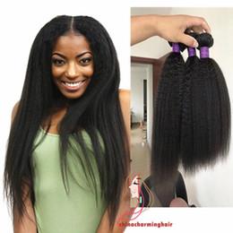 8A Mongolian Pure Coarse Yaki Italian Yaki Human Hair Extensions 3pcs Lot Virgin Mongolian Kinky Straight Weave Instock Free Shipping