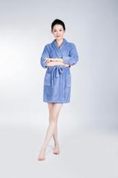 Wholesale The light blue Bathrobe Women Pajamas Hotel SPA Plus Robes Pajamas for Women Coral Fleece Coral Cashmere Nightgown Sleepwear Bath Towels