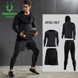 Capas base en venta-Vansydical New Mens Compression Shirts Pantalones Gimnasio para la Fitness Correr Correas Pieles Capas Base de baloncesto Juegos de compresión