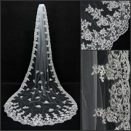 Veu De Noiva Longo 3 Meters Appliqued Lace Edge Bridal Veil White Ivory Wedding Accessories Cathedral Wedding Veil CPA066