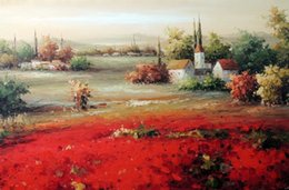 Framed Italian Homes Village Red Poppy Field,Pure Hand-painted Art Oil painting On Thick Canvas,Multi sizes Available,Free Shipping J006