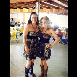 2017 Short Camo Bridesmaid Dresses Sweetheart Satin Custom Made Country Bridesmaid Dresses Real Image Wedding Party Dresses