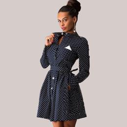 Descuento línea vestido de lunares larga Venta al por mayor-2016 muñeca de primavera de manga larga de pie Collar Pin Up vestido de punto de polca fue fina una línea de camisa de túnica Vestidos Negro Azul Vestidos