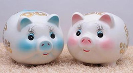 Wholesale Jingdezhen ceramics dolls bank cute piggy coin kids gift free shopping Creative toys Fortune pig Promotional products
