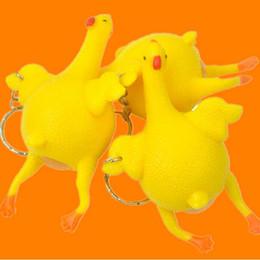 Parodia divertida en Línea-Novedad Spoof Tricky Funny Gadgets juguetes de ventilación de pollo huevo entero Colocación de gallinas lleno de estrés bola Cute Keychain moda descompresión de juguete