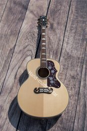 Wholesale l43 inches round rhyme s custom guitar spruce panel veneer lientang maple plywood rosewood fingerboard foundry neck label