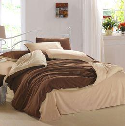 Wholesale 4 Pieces Set brown Solid Bedding Sets Duvet Cover Flannel Home Textiles Warm Bedlinen D Reactive Printing Beds Sheet Set
