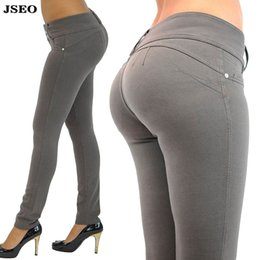 Wholesale JSEO Women Jeggings Tights Stretch Pants Butt Lifting Comfy Skinny Tights Polyester Colored Jean Look Leggings Yoga Pants Joggers