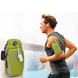 Promotion équipement d'emballage Wholesale- Waterproof Nylon Fitness Outdoor Sports Equipment jogging running bag Run Arms Package Running Accessoires avec prise casque