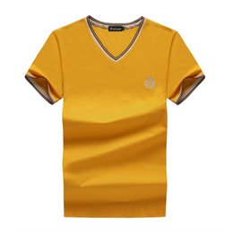 Bucrsatn 2018 Sale Summer Style free free Short Sleeve Pure Men 100% Cotton 4xl Yellow Black Red White V Collar Casual T-shirt Brand Men's