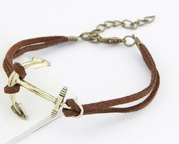 Fashion retro style leather bracelet personality anchor multilayer hand woven leather Charm bracelets jewelry top quality factory price