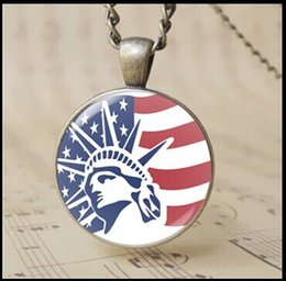 American flag art photo Pendane Necklace The Statue of Liberty charm jewelry bronze Cabochon rounded glass USA jewelry 12pcs T1014