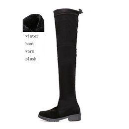 Longue en cuir femmes boot en Ligne-2016 Chaussures Femmes Nouveau sur le genou Cuisse Haute Black Boots Femmes Motocyclette Flats Bottes Long Low Heel Seude Cuir Chaussure C16110701